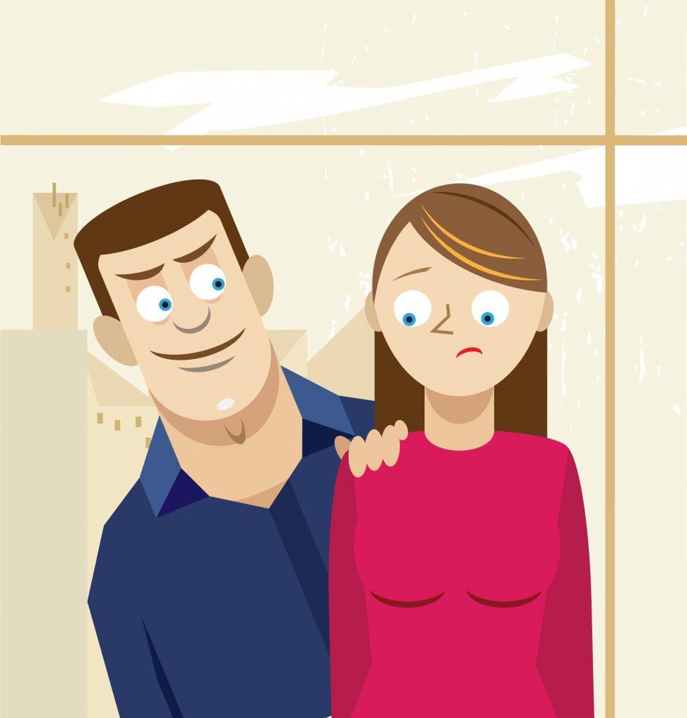 Man peering menacingly over a woman's shoulder