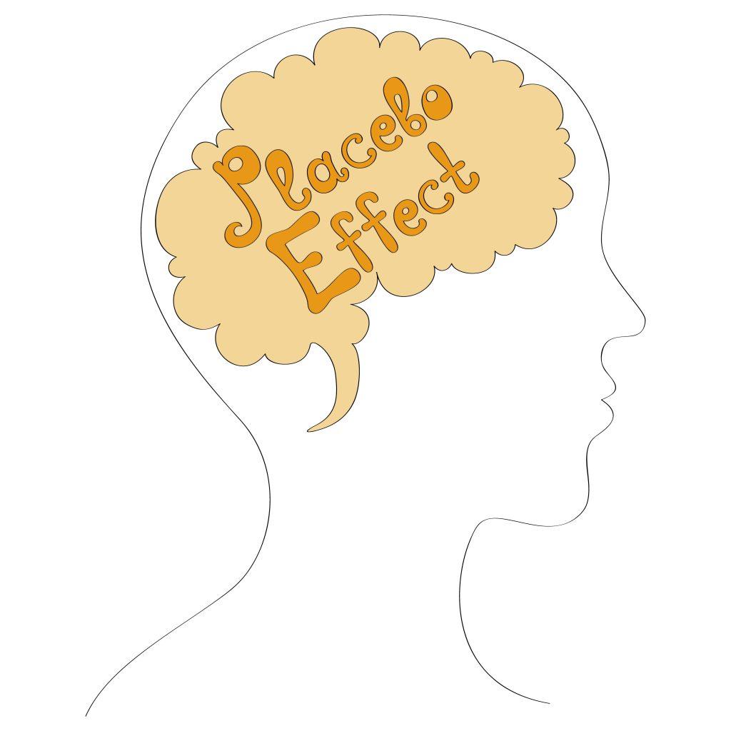 Placebo Effect written over a brain