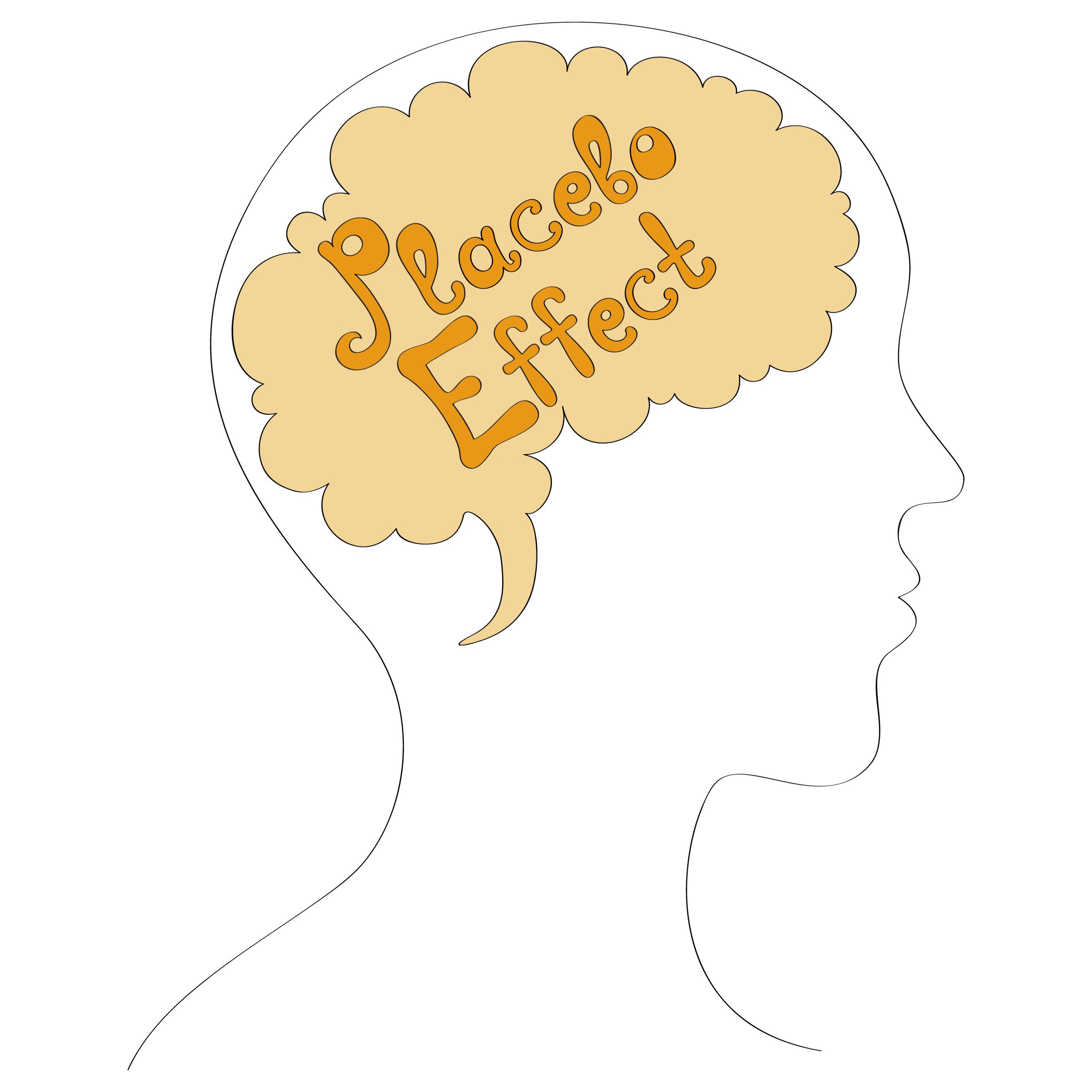 Placebo Effect written over a brain