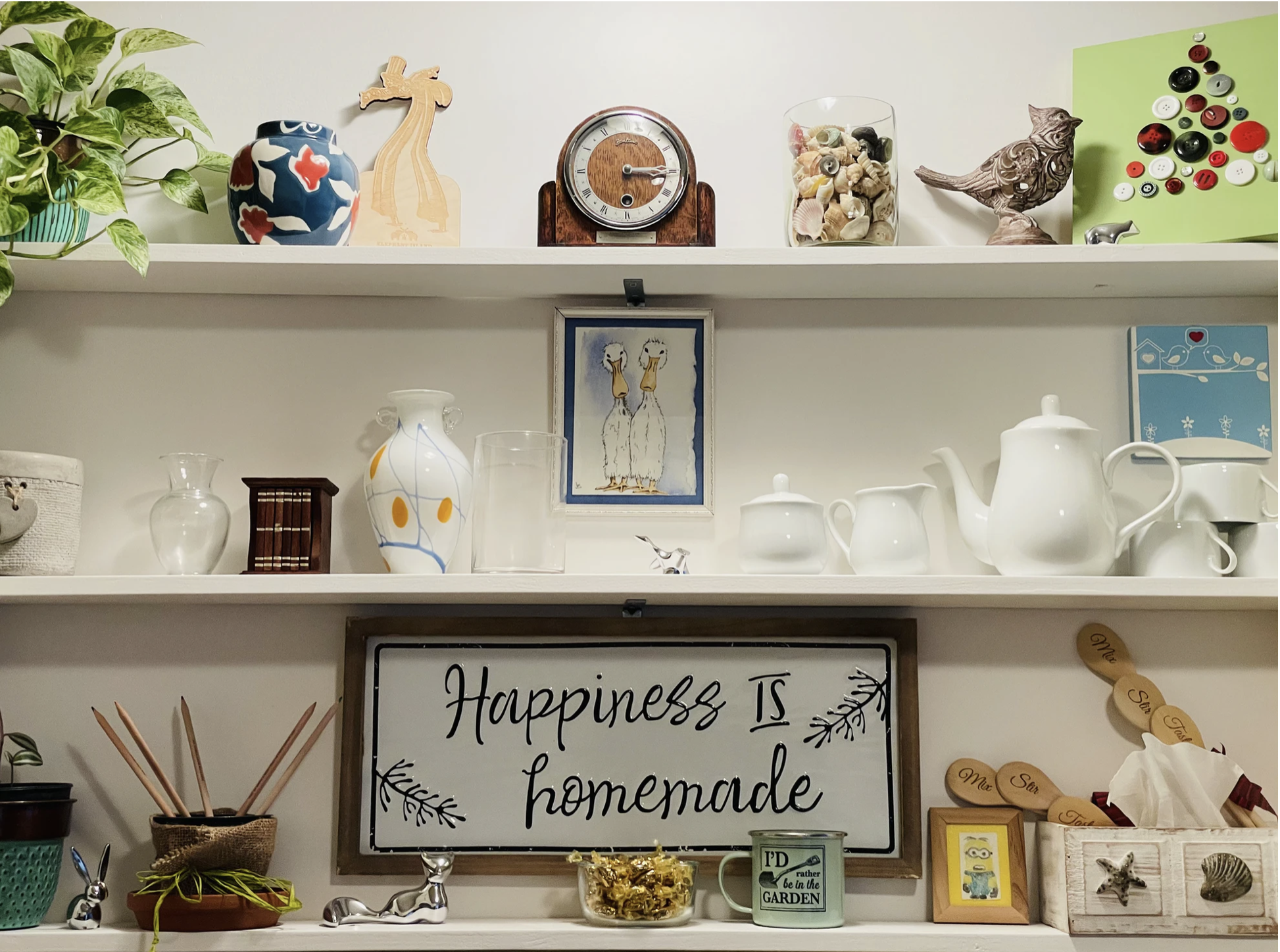 Clutter on kitchen shelves - plants, candies, a clock, and a tea set