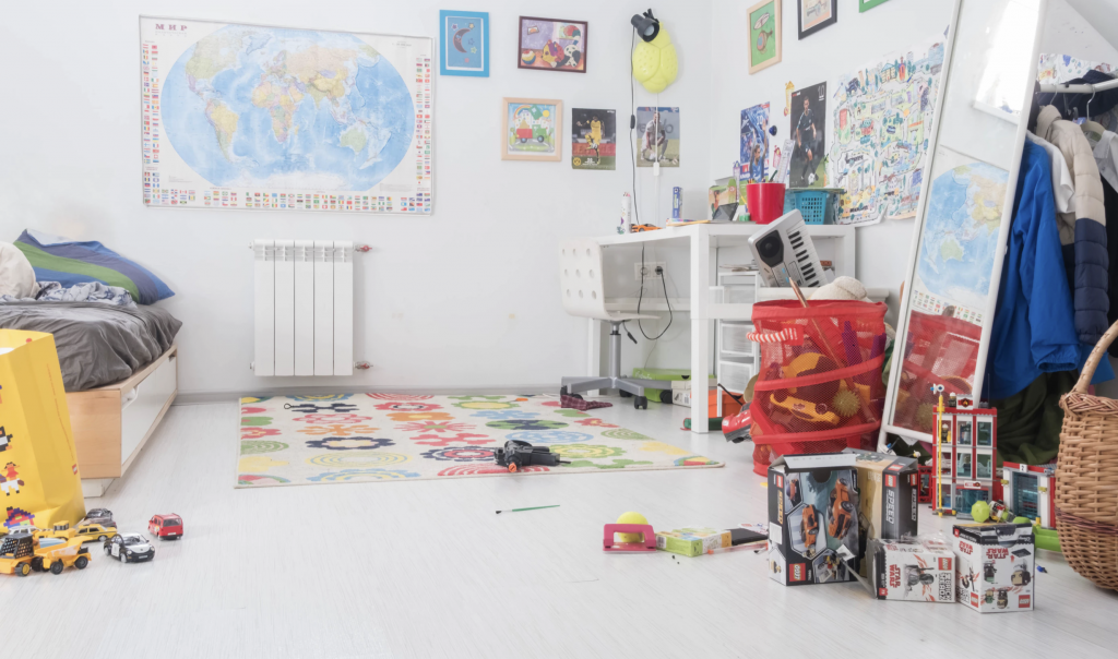 Kids room full of toys and boxes